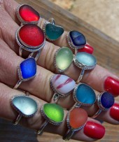 Our sea glass rings