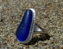 Cornflower sea glass ring