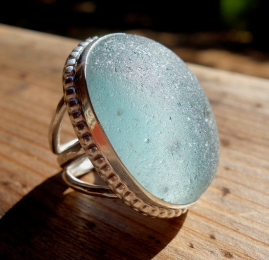 genuine sea glass ring
